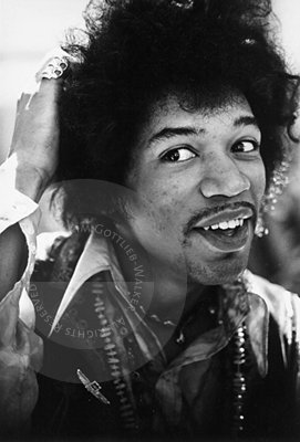 The portraits of Jimi were taken during an interview conducted by Bill Kerby on the patio of a motel on the Sunset Strip in Los Angeles in 1967.