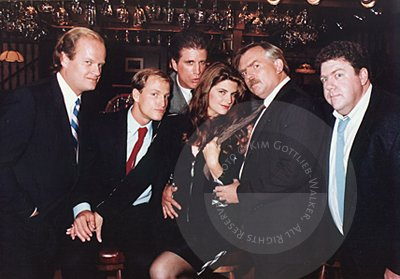 Kirstie Alley with the CHEERS boys, Kelsey Grammer, Woody Harrelson, Ted Danson, John Ratzenberger and George Wendt